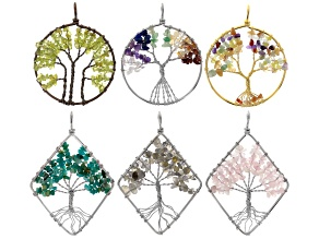 Tree Of Life Pendant Set of 6 in Assorted Shapes, Tones & Gemstone Chips