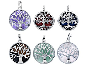 Tree Of Life Coin Pendant Set of 6 In Silver Tone With Assorted Stones
