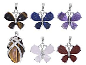 Butterfly Pendant Set of 6 in Silver Tone with Lapis, Amethyst, Rose Quartz, Tigers Eye & Jasper