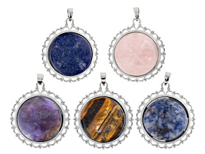 Cabochon & Filigree Pendant Set of 5 In Silver Tone With Assorted Stones s