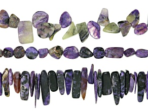 Charoite Bead Strand Set of 3 in Assorted Shapes & Sizes Appx 15-16