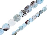 Larimar Bead Strand Set of 2 In 6mm & 10mm Square Shape Beads Appx 15-16