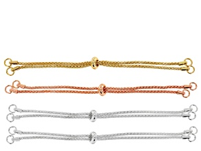 """Sliding Adjustable Necklace Making Chain 4pc Set: 2 Silver Tone, 1 Gold Tone & 1 Rose Tone 9"""" Each"""