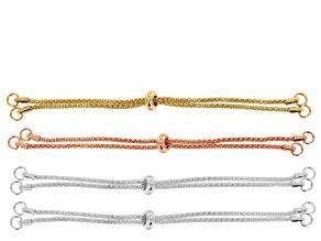 Sliding Adjustable Necklace Making Chain 4pc Set: 2 Silver Tone, 1 Gold Tone & 1 Rose Tone 9