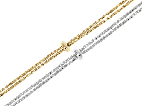 "Sliding Adjustable 18"" Necklace & 6"" Bracelet Making Chain 4 Pc Set in Gold Tone & Silver Tone"