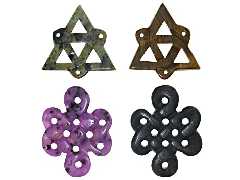 Carved Pendant Set/4 includes 2 Knot Styles & 2 Triquetra Style in Assorted Stones