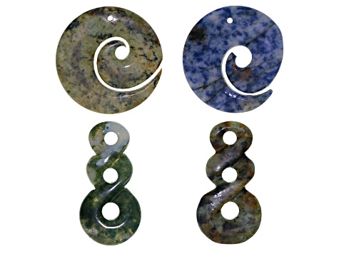 Hand-Carved Pendant Set/4 Includes Graduated 3-Hole Twist Style & Spiral Style In Assorted Stones
