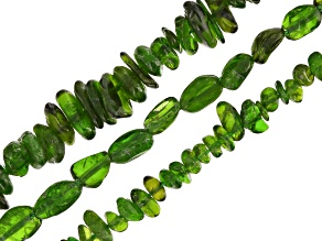 Chrome Diopside Chip & Nugget Shape Bead Strand Set/3 Assorted Sizes Appx 15-16