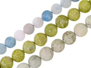 Assorted Bead Strand Set/3 Incl Epitote, Matte Epidote & Matte Aquamarine Round Strands