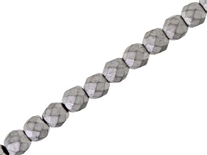 Matte Silver Color Coated Hematine 4mm Faceted Round Bead Strand Appx 15-16