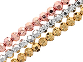 Metallic Coated Hematine Appx 4mm Disco Ball Shape Bead Set/3 Strands In Assorted Tones appx 15-16