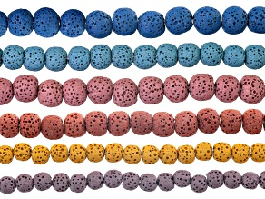 Lava rock round bead strand set/6 in assorted sizes & colors appx 15-16