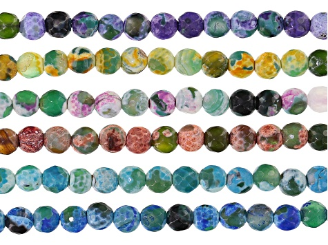 Chalcedony 6mm round bead strand set/6 in assorted colors appx 15-16