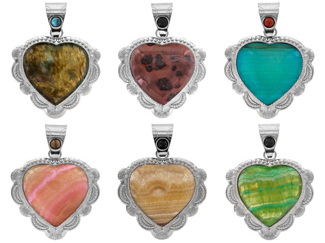 Southwestern inspired heart pendant set/6 in silver tone with assorted colorful stones