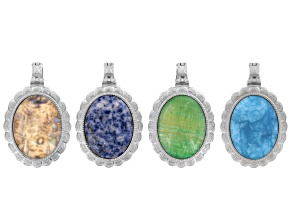 Inlay frame silver tone pendants w/ magnetic bails set/4 includes assorted stones