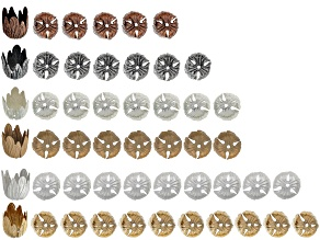 Floral Bead Cap Set Includes 50 Pieces Total in 6 Assorted Tones