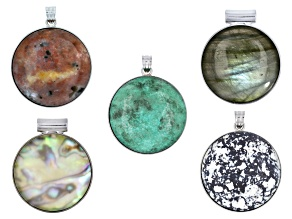 Circle inlay frame pendant set/5 in silver tone includes assorted stones