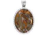 Hand polished 40x30mm classic oval pendant set/4 in assorted stones