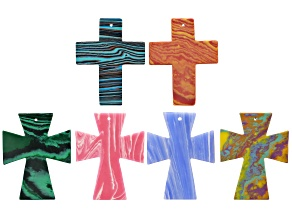 Calsilica and glass cross pendant set/6 in assorted styles and colors
