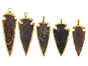 Arrowhead shape pendant set of 5 gold tone electroplated in assorted stones