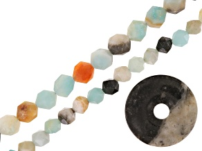 multicolor quartzite bead set/3 incl two star cut strands & one donut focal