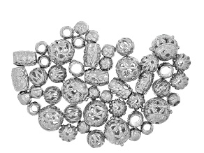 Assorted ornate metal bead set/52 pieces incl 5 styles in silver tone