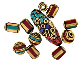 Old world style appx. 10 pieces bead assortment in various shapes & sizes