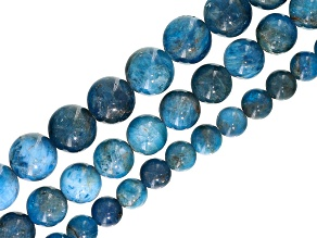Neon Apatite Bead Strand Set of 3 in appx 6, 8, & 10mm Round Appx 15-16