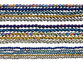 Metallic Coated Hematine Bead Strand Set/15 Appx 2, 3, & 4mm Faceted Round Strands Appx 15-16
