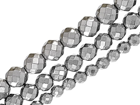 Metallic Coated Hematine Appx 6, 8, & 10mm Faceted Round Bead Strand Set of 15