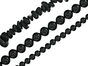 Black Spinel bead strand set/3 incl 4mm&6mm round appx 15-16