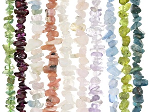Gemstone chip strand set of 10 strands in assorted stones appx 15-16