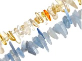 Gemstone Medium Tumbled Free-Form Chip Bead Strand Set of 8 in Assorted Stones appx 15-16""