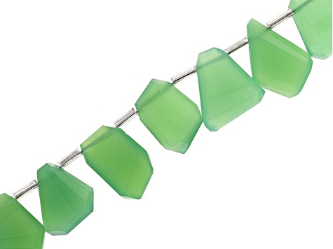 Chrysoprase graduated fancy faceted nugget shape beads appx 15x10mm-20x15mm strand appx 8