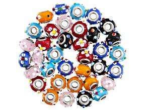Ornamental glass bead set includes 36 pieces total in 6 assorted colors