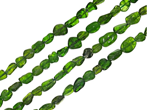Chrome Diopside bead strand set of 4 appx 3-8mm nuggets shape appx 15-16