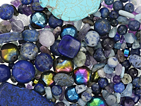 1lb Multi-Gemstone Bead Bag in Blue Tones in Assorted Shapes & Sizes Natural & Man-Made