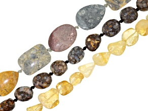 Mixed bead strand set/3 incl assorted shapes, sizes & stones in bright colors