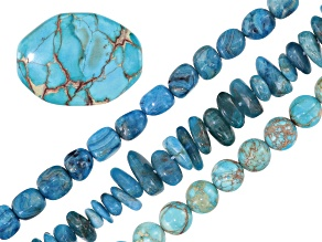 End of Summer Blues bead set incl 3 strands and one focal bead