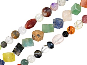 Party bead set/3 includes multi-stone bead strands in assorted shapes & sizes