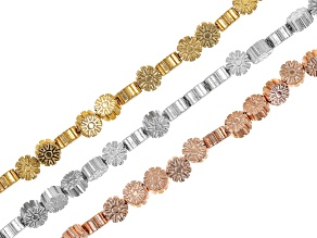 Metallic coated hematine bead strand set/3 appx 7mm sunflower shape incl rose,silver&antq gold tones