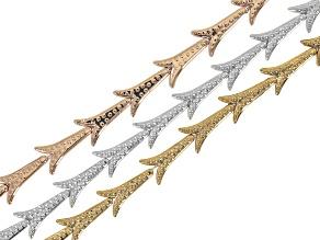 Metallic coated hematine bead strand set/3 appx 7x16mm arrow shape incl rose,silver&antq gold tones