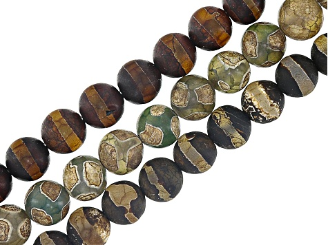 24349629e DZI Inspired Quench Cracked Line & Circle Agate Bead Strand Set of 3 appx  8mm Round