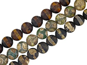 DZI Inspired Quench Cracked Line & Circle Agate Bead Strand Set of 3 appx 8mm Round & appx 14-15