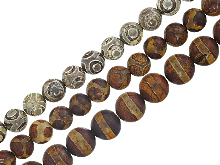 a7b95cdd7 DZI Inspired Quench Cracked Line & Circle Agate Bead Strand Set of 3 appx  8-10mm Round & appx 14-15
