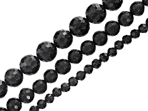 Black Spinel Faceted Round Bead Strand Set of 3 in appx 4, 6 & 8mm appx 15-16