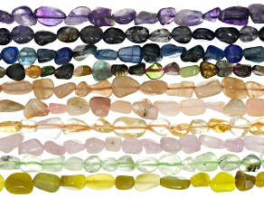 "Nugget Gemstone 10pc Strand Set of Mixed Gemstones appx. 15-16"" each in length."