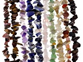 "Gemstone Chip Strand Set of 10 appx 32-34"" each in length"