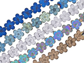 Hematine Carved Flower Shape Bead Strands Set of 5 appx 8mm in various colors appx. 15-16
