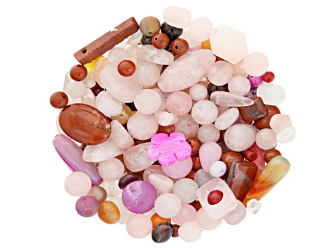 1lb. bag Multi-Stone Beads in Pink, Red & Orange Tones Assorted Shapes & Sizes Natural & Man-Made